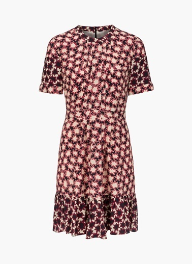 Desenli Eteği Pilili Elbise-Twist